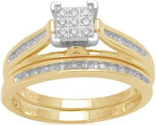 10k Yellow Gold Diamond Square Center Bridal Ring Set