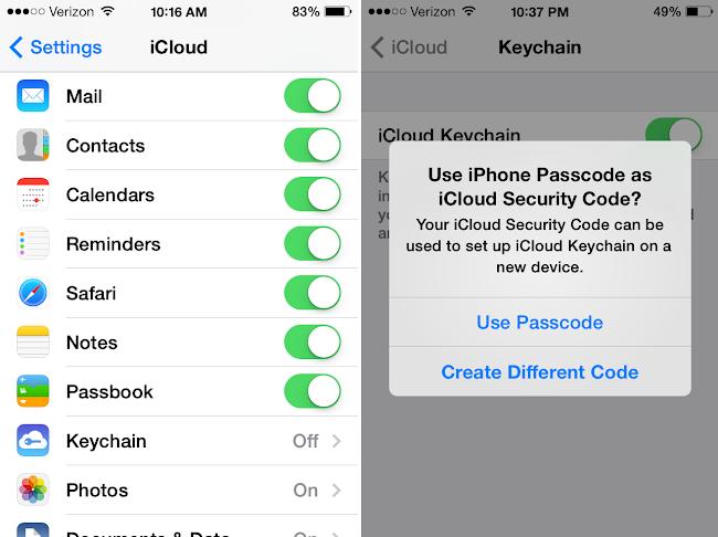 Turn On Keychain iOS 7
