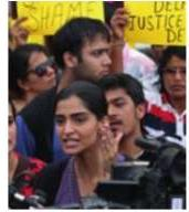 Sonam Kapoor addresses the media as the participates in a protest against the gangrape in Mumbai on Sunday