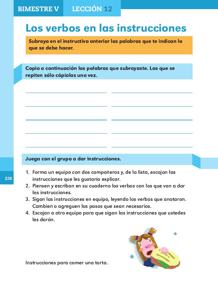 Los verbos en las instrucciones español 2do bloque 5/ 2014-2015
