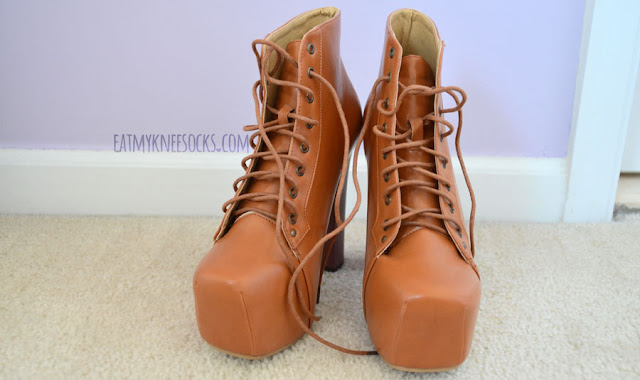 Milanoo's tan/camel platform high-heel booties have a wooden sole and lace-up front, like the Jeffrey Campbell Lita shoes.