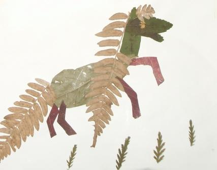 Лошадь из листьев поделка 17