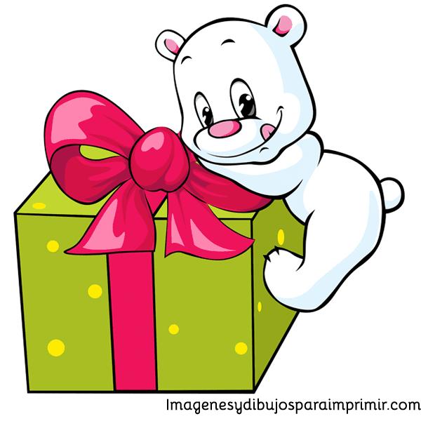 Oso con regalo de navidad