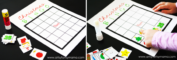 Free Printable Christmas Bingo at artsyfartsymama.com #Christmas #freeprintable #printable #bingo