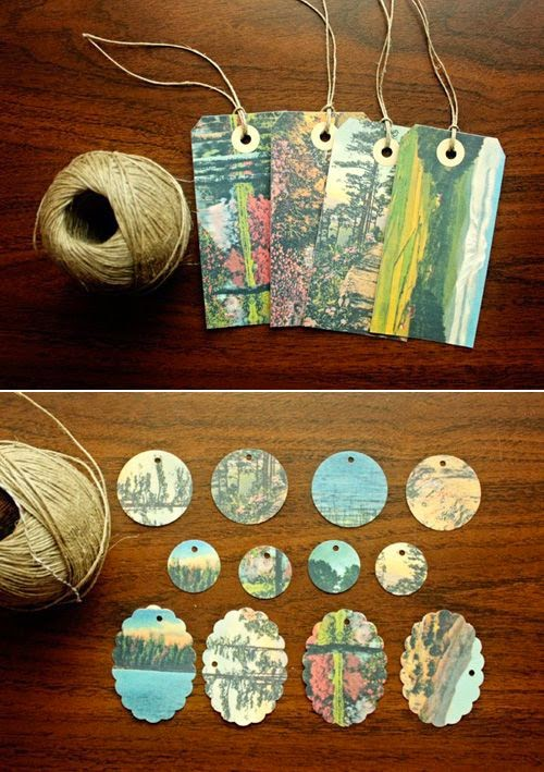 upcycled postcard bookmarks DIY