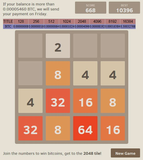 Bitcoin Game 2048 Mycoinblog