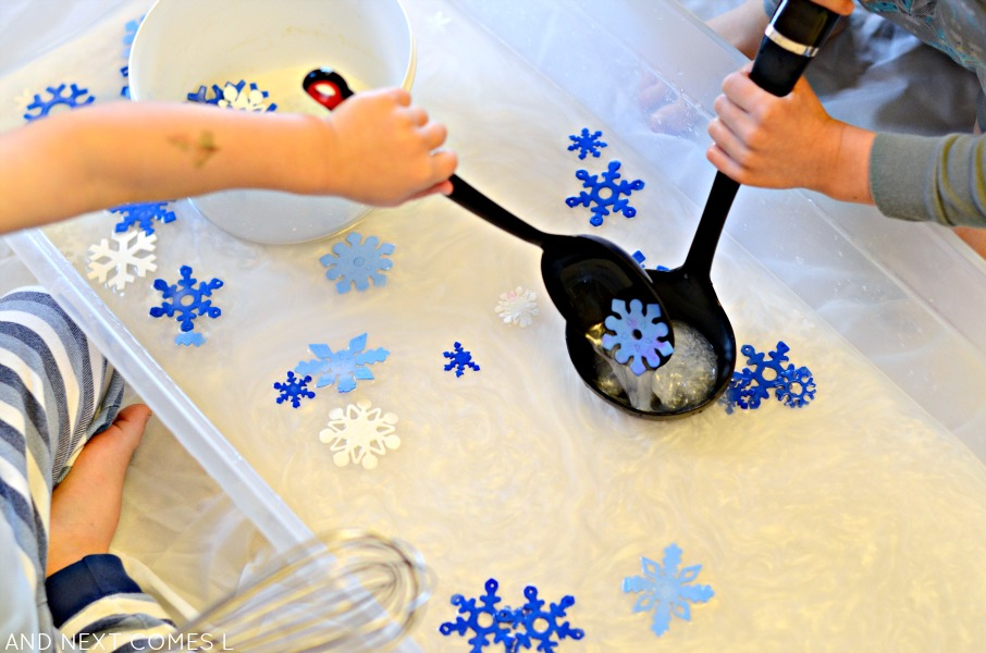 Scented Snowflake Soup {Water Sensory Play} | And Next Comes L