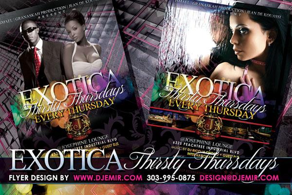 Exotica Thirsty Thursdays Atlanta GA Flyer Design