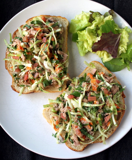 Spicy tuna salad with chard stem pickle, cabbage, and cilantro