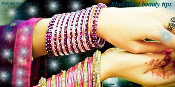 Pink and purple bangles for brides 2014