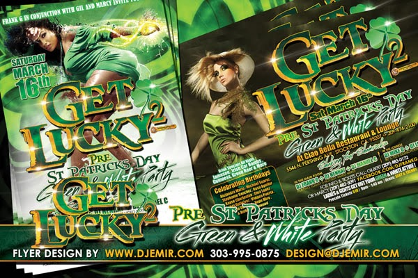 Get Lucky 2 Green & White St Patrick's Day Party Flyer Design