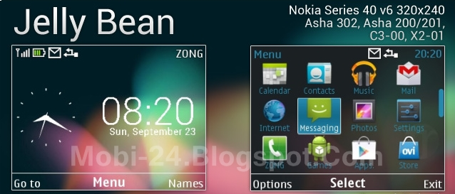 Jelly Bean theme for Nokia Asha 302, C3-00, X2-01 & 320×240