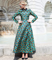 New 2016 Long Sleeve Black Collar Golden Green Flowers Flare Maxi
