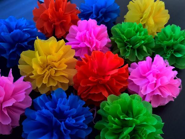 Ruusukkeet (pom poms) kreppipaperista