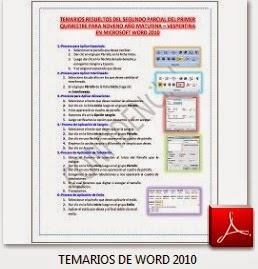 TEMARIOS DEL SEGUNDO PARCIAL DE WORD 2010