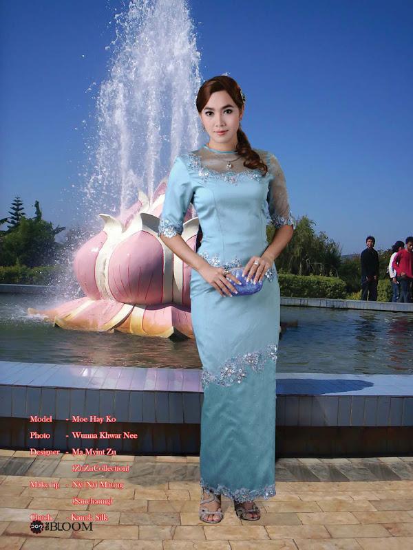 Moe Hay Ko - Elegant Blue Burmese Dress