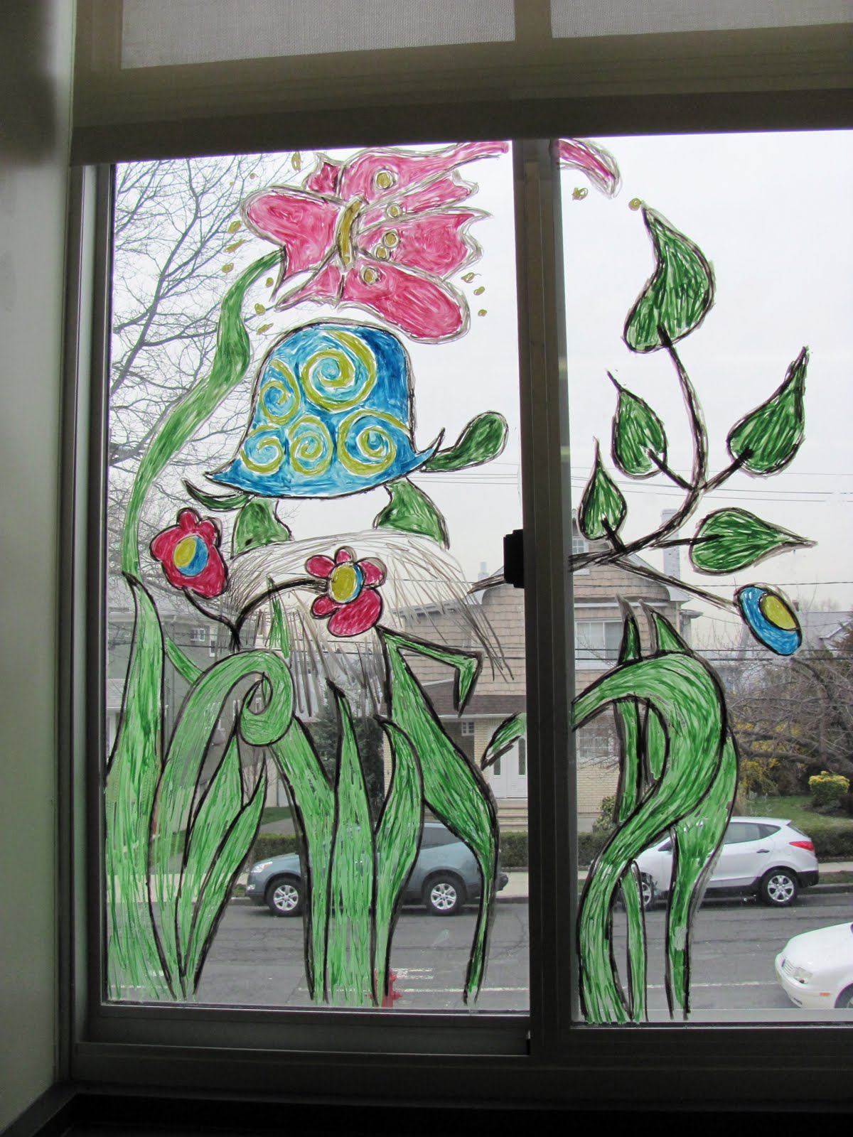 Classroom window decoration - I Painted Each Window In A Different Bright Design