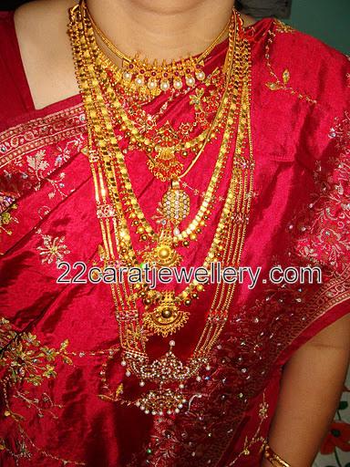 Rani Haram And Gold Gundla Mala Jewellery Designs