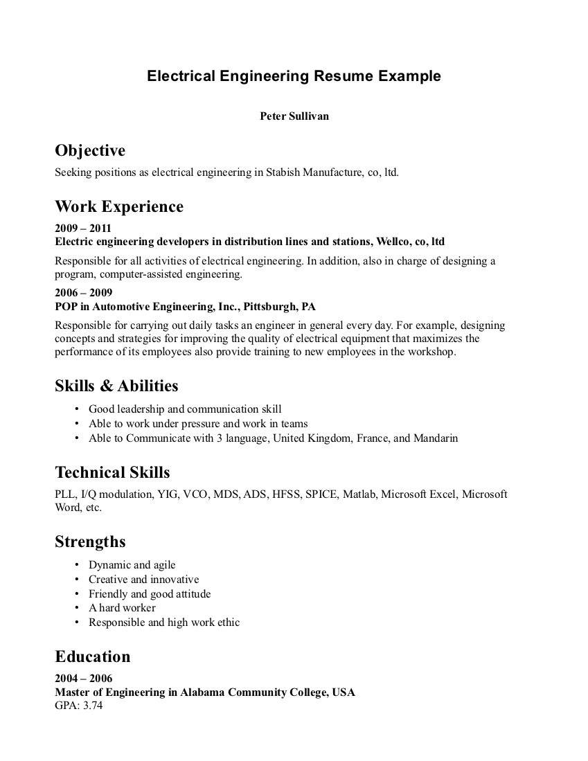 Engineering Resume Format In Ms Word