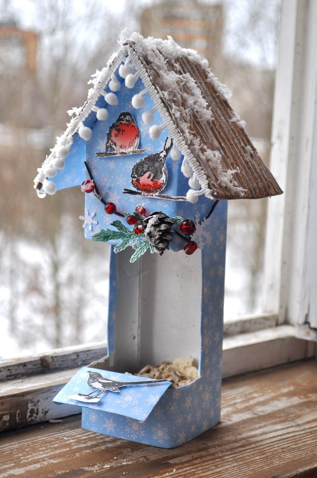 Кормушки для птиц своими руками из коробок