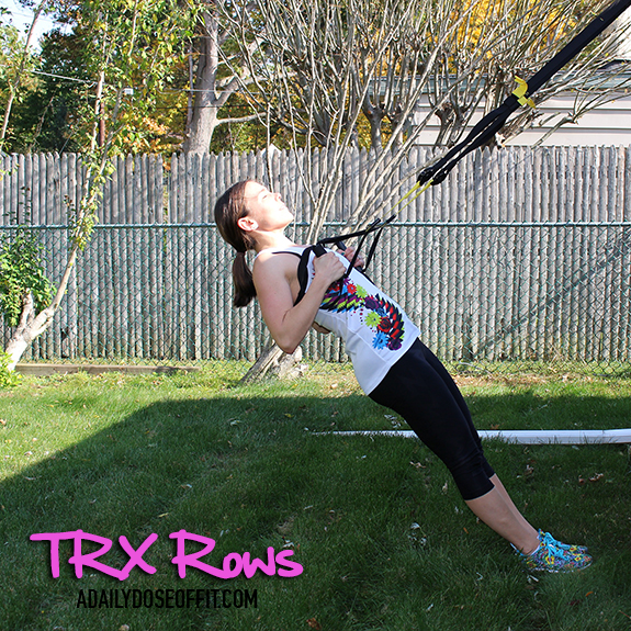 TRX Rows will tone your back muscles and add strength.
