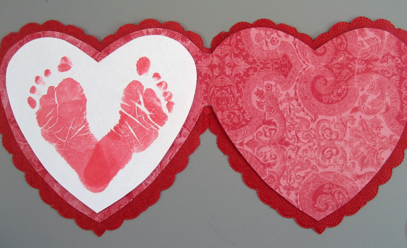 Jany claire baby footprints heart card perfect for for Valentine crafts for preschool