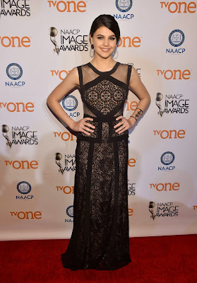 Amber Montana looked gorgeous in Long Black Dress at 2015 NAACP Image Awards in Pasadena