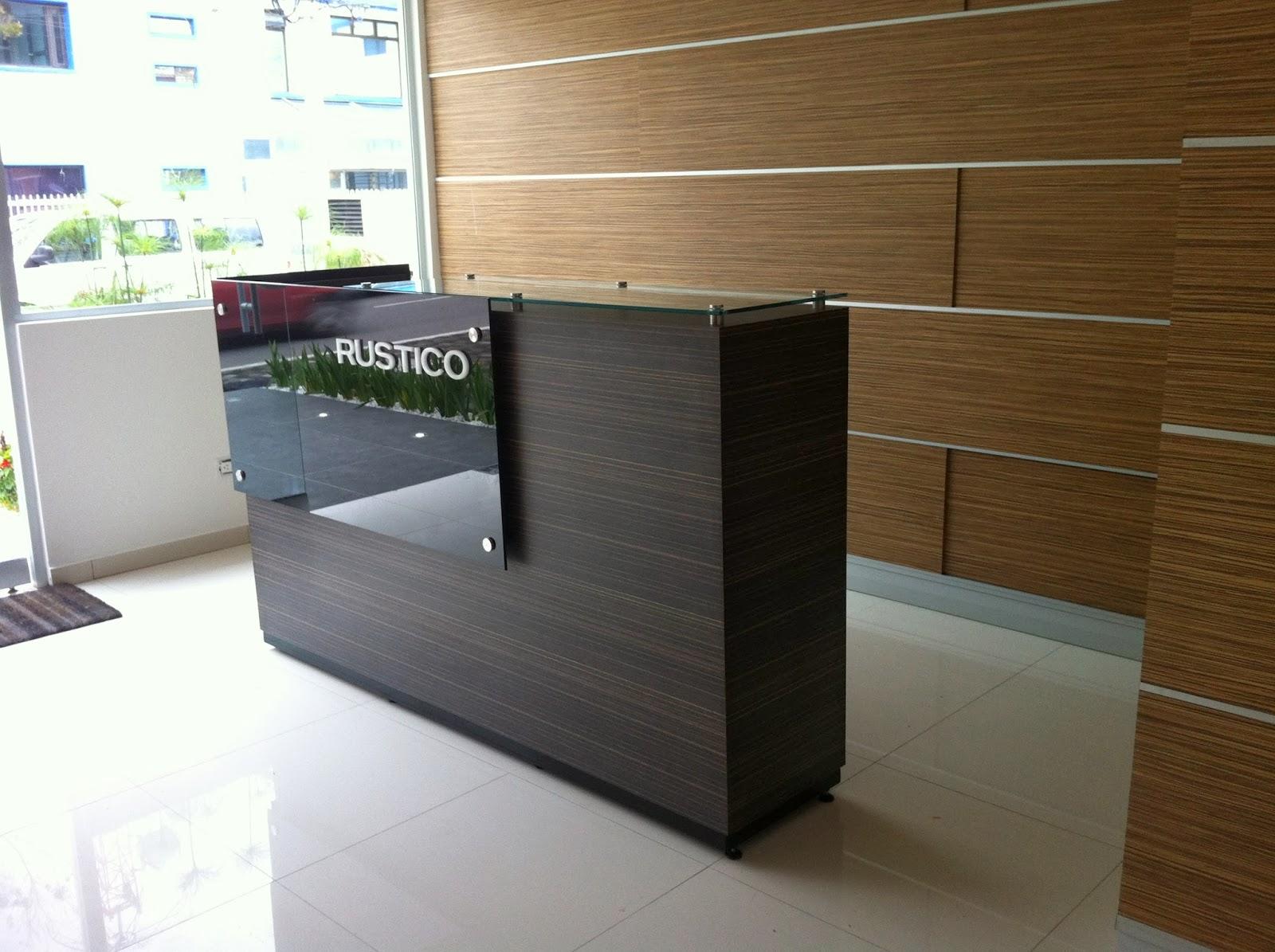 Artefacto studios mueble recepci n edificio rustico for Muebles de recepcion