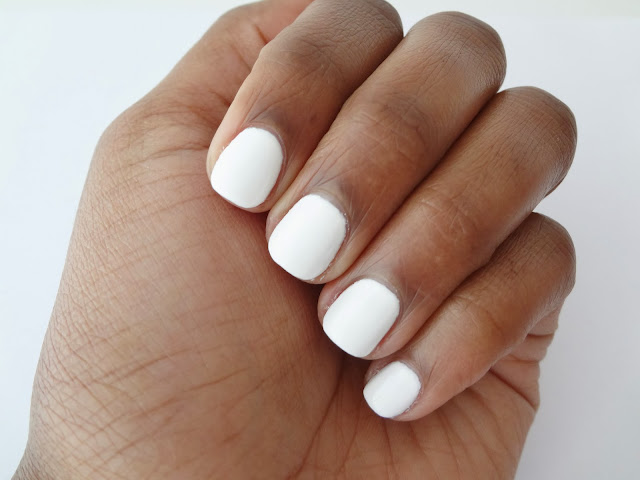 Nail swatch of OPI nail polish Alpine Snow without top coat or flash.