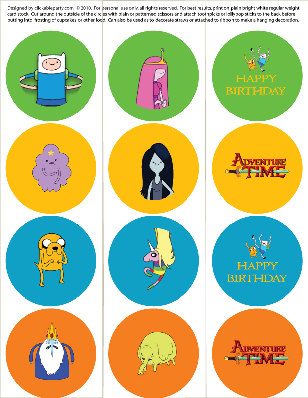 clickable party  adventure time  free printable party