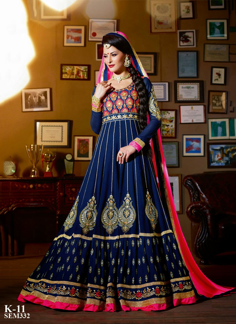 New arrival designer embroidery floor touch anarkali suit for Floor touch gown