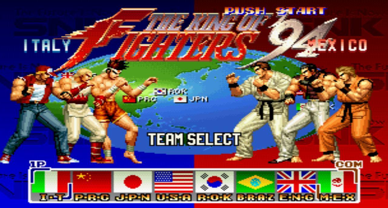 King of Fighters: Tela de Seleção de times no KOF 94.