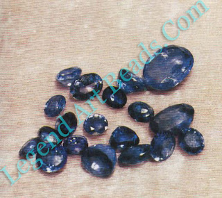 Sapphires in various shades of blue.