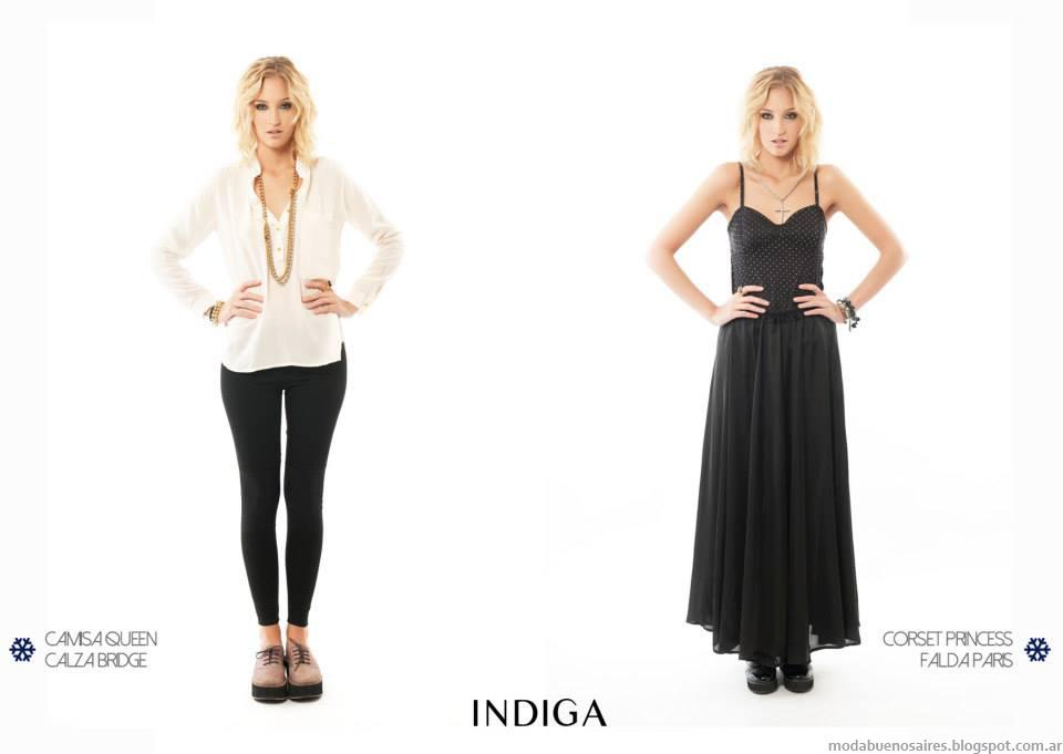 Blusas y faldas de moda 2014. MOda otoño invierno 2014 colección Indiga.