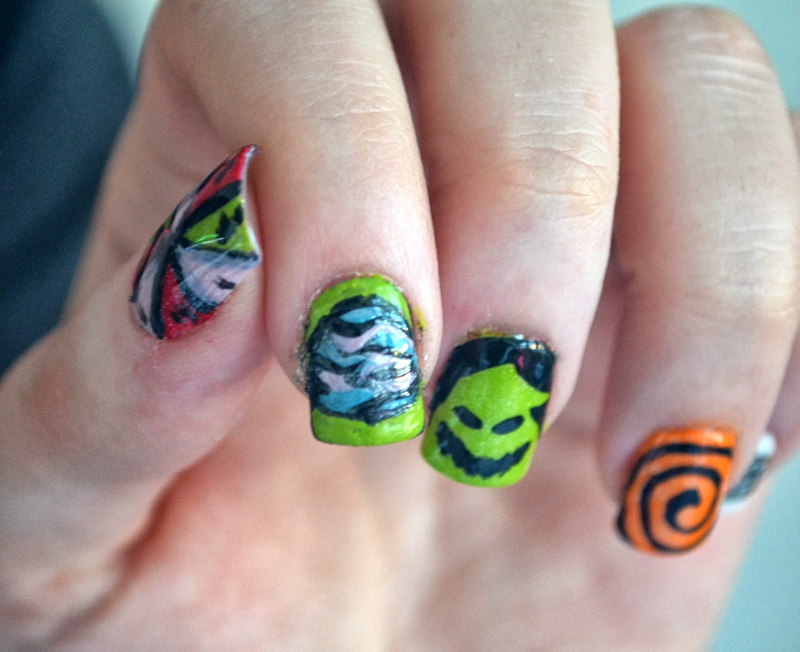 Inspired by Nails- Nightmare Before Christmas Oogie Boogie Nails ...