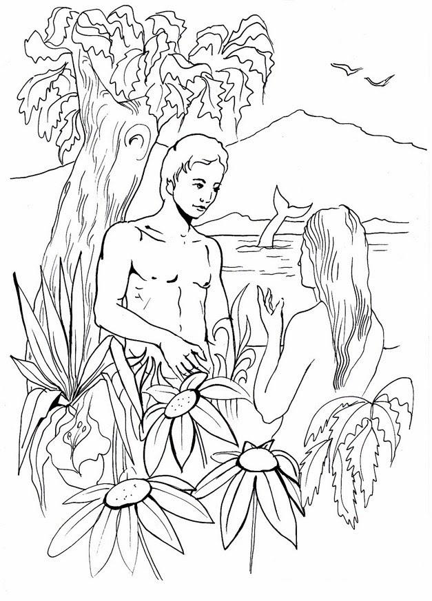 Asombroso Adán Y Eva En El Jardín De Edén Para Colorear Elaboración ...