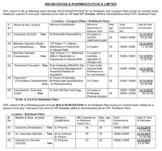 Indian Drugs & Pharmaceuticals Limited, IDPL Recruitment 2015, sarkari naukri in IDPL, idpl.gov.in