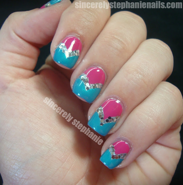 fishtail nail art glitter
