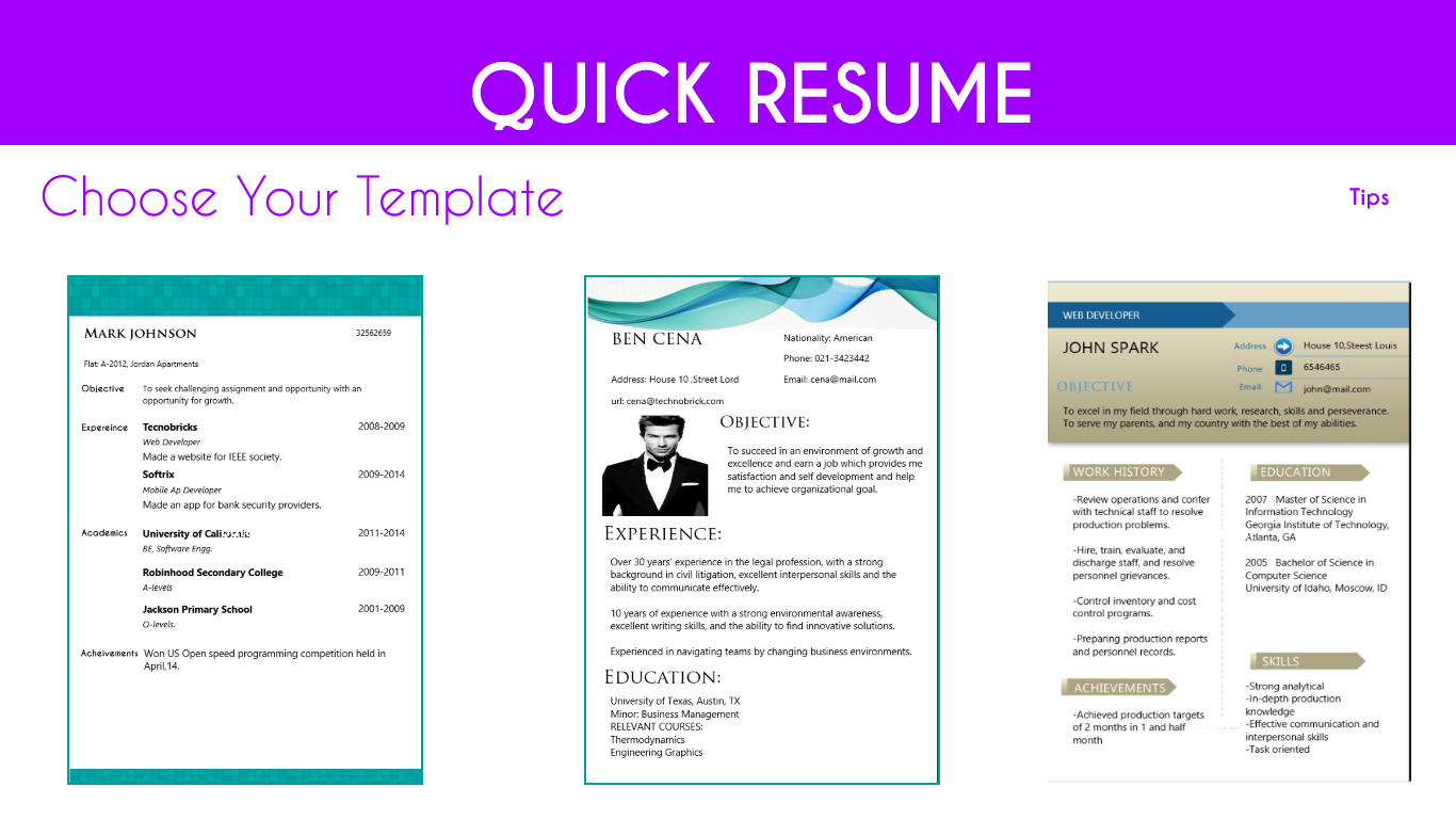 how to make a quick resume