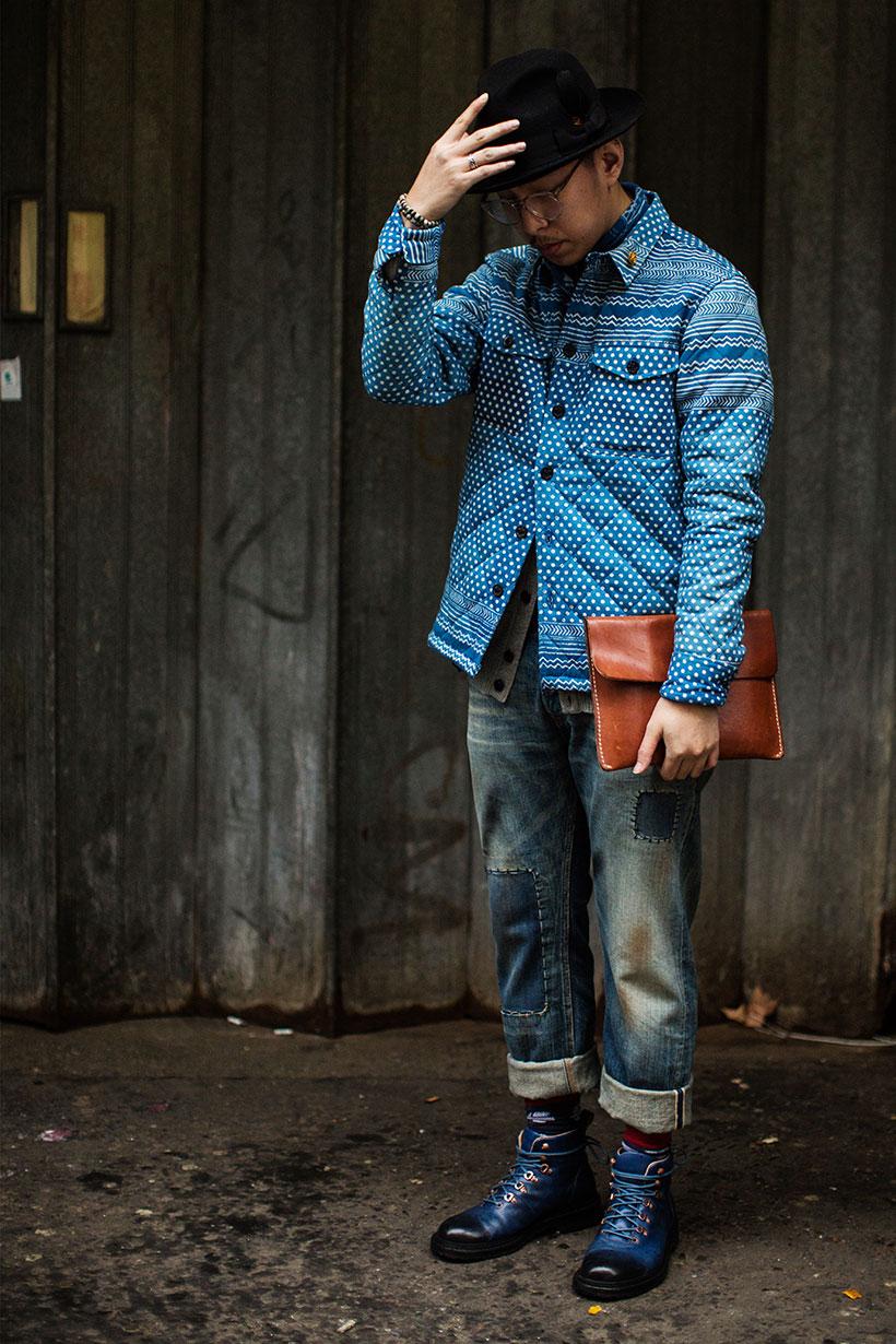 青白ドットキルティングジャケット×パッチワークデニムパンツ