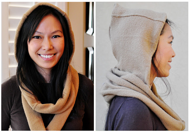 tan hooded scarf from a sweater