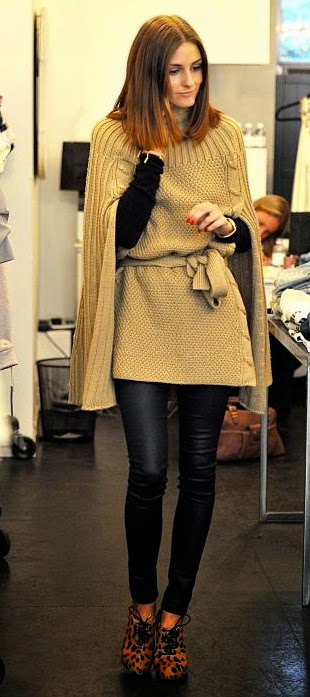 olivia palermo knit cape waxed skinny jeans charlotte olympia alice lace ups