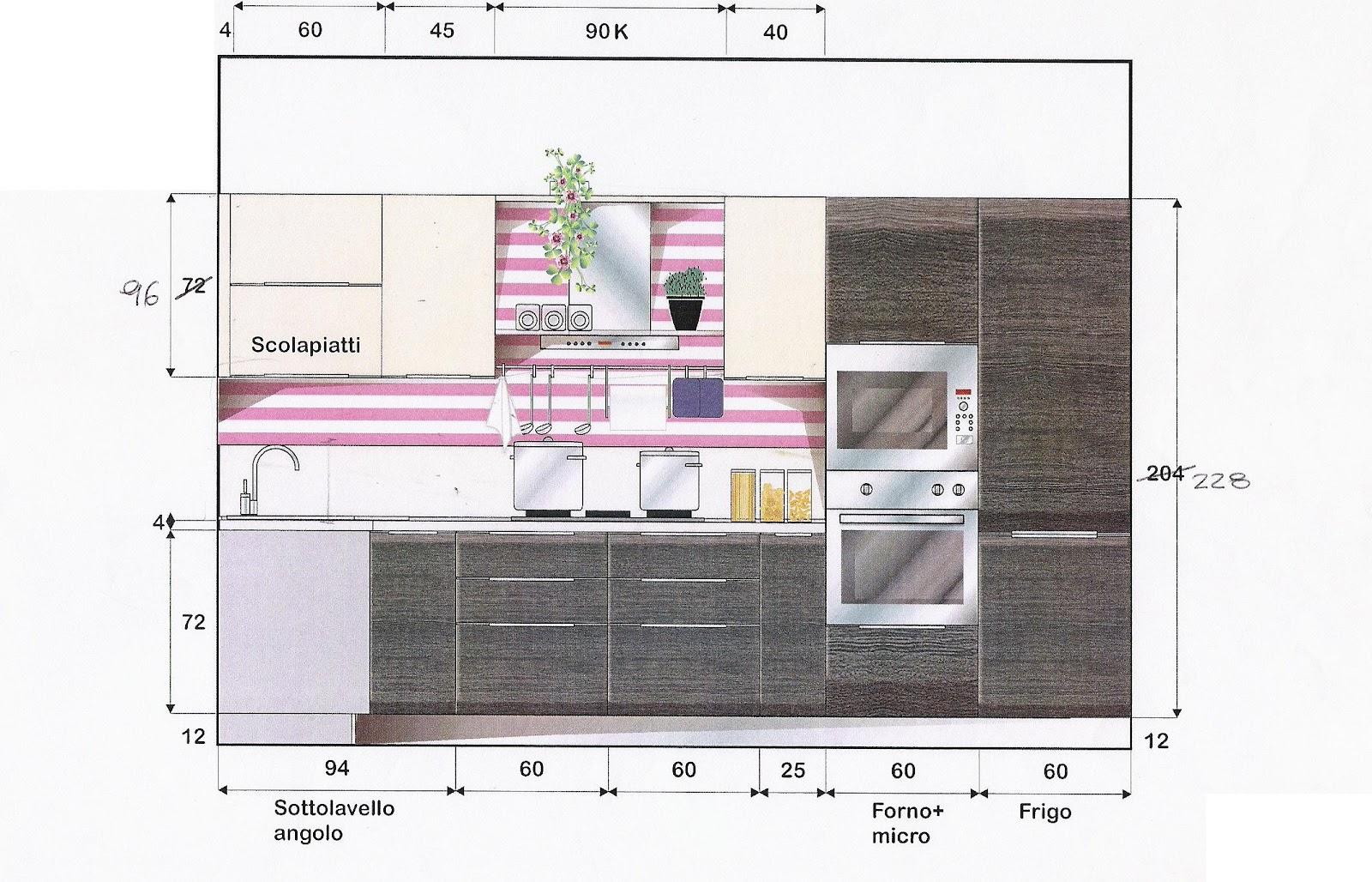 La casa rosso papavero impianti organizzazione in cucina - Altezza pensili cucina da top ...