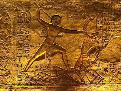 Ramsés II matando un hitita en la batalla de Qadesh, Templo de Abu Simbel