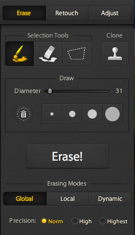 Screen shot of the Erase Tool