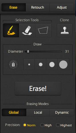 Screen shot of the Erase Tool