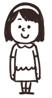 小学生の女の子のイラスト 白黒線画