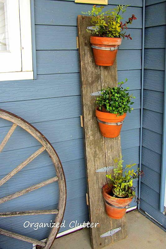 Barn Wood Terracotta Pot Display www.organizedclutter.net