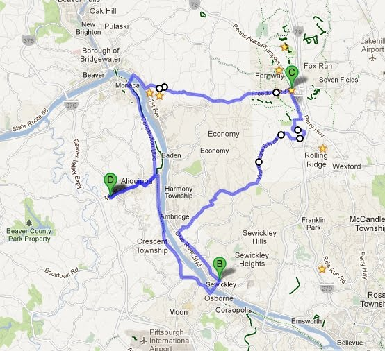 Aliquippa-Sewickley-Cranberry bike ride: Two Bridges, Two Starbucks
