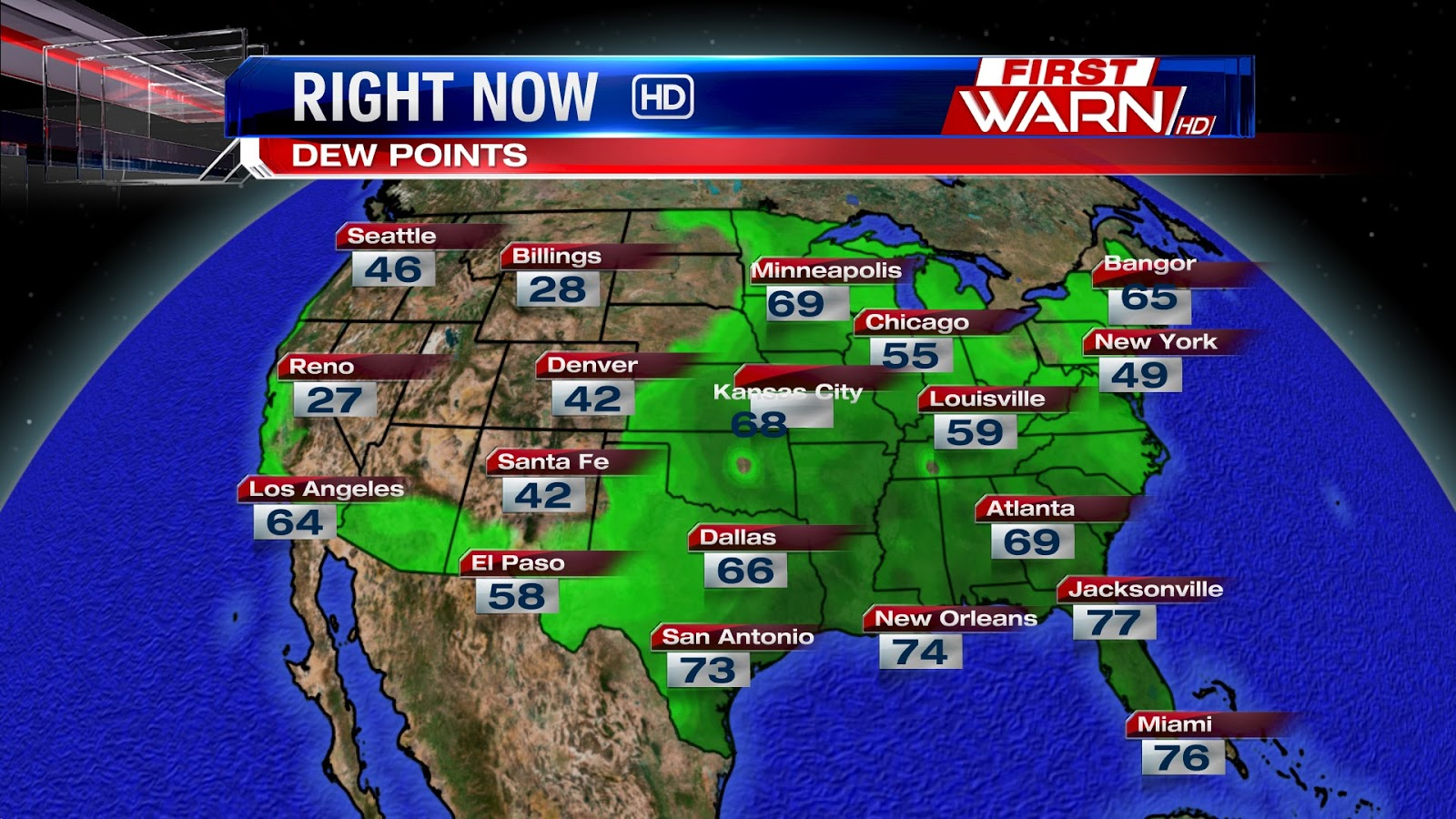 First Warn Weather Team August - Map of dew points us